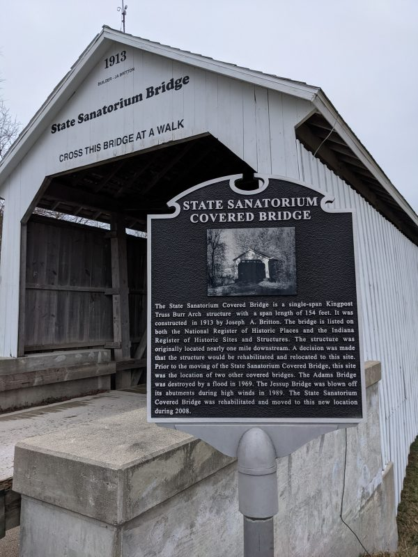 Indiana State Sanatorium Covered Bridge and Historical Marker