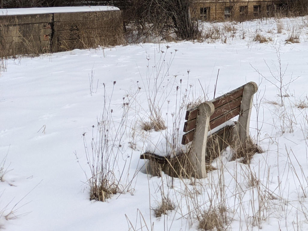 Sturdy bench in the Winter. Near Administration building