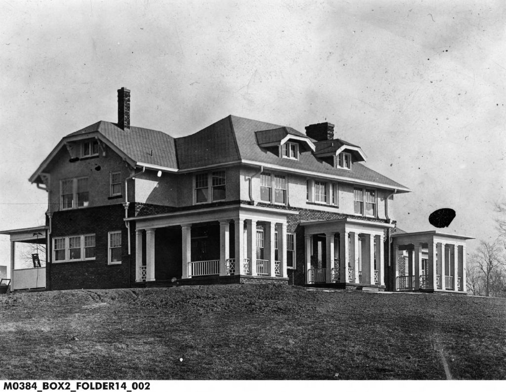 Black and white photo of Superintendent's house, dated 1945.
