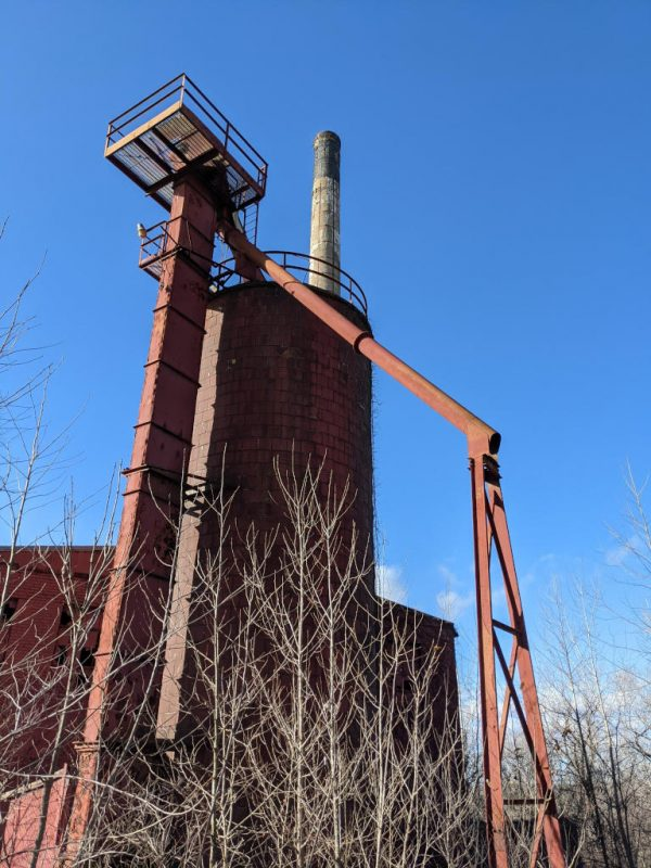 A view up to some of the Power Plant's outdoor equipment