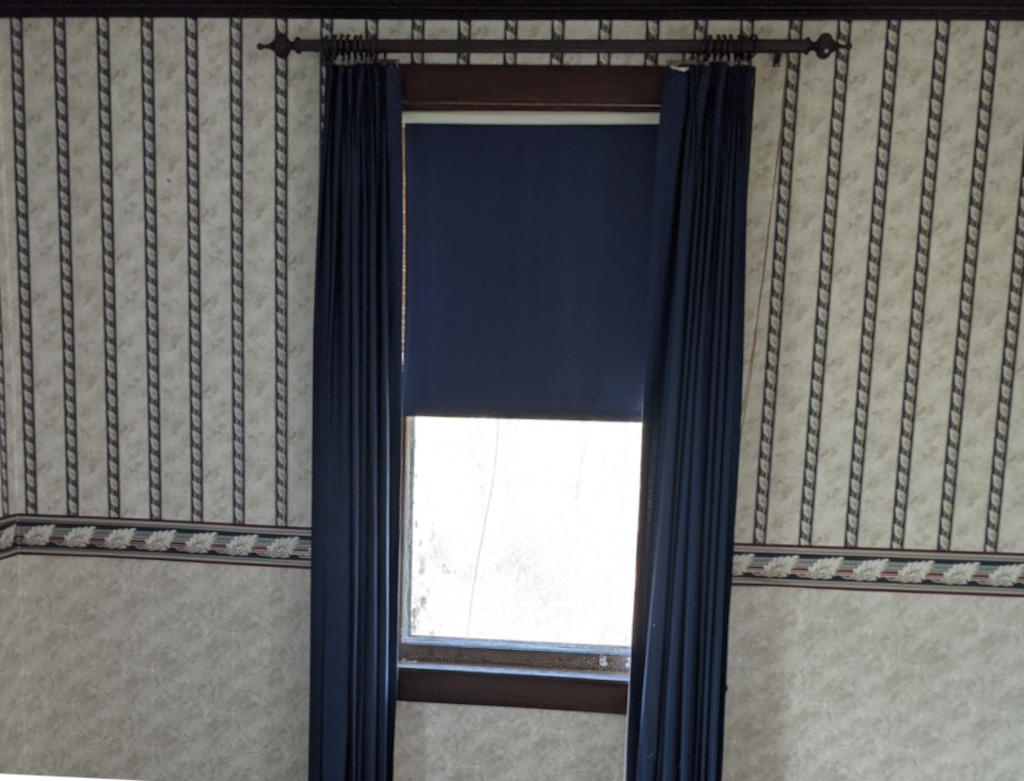wallpaper and Blue Shade in Mansion