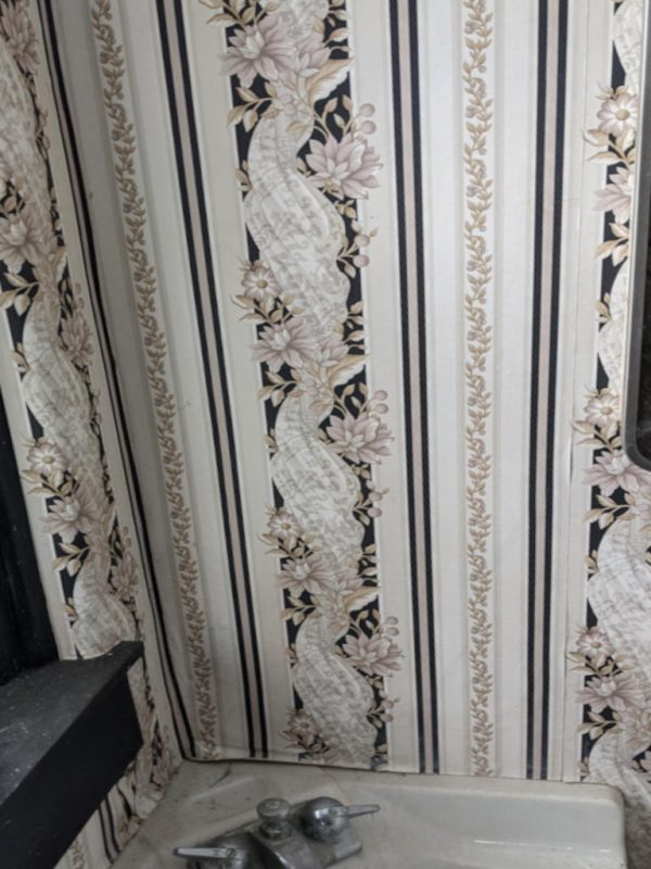 Wallpaper in first floor bathroom of Superintendent's house